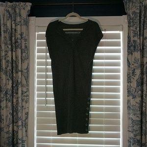 V Neck Sleeveless Gray Sexy Sweater Dress